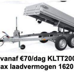 Verhuur aanhanger per dag KLTT2000 305x150 Max laadvermogen 1620kg (Borg €100)