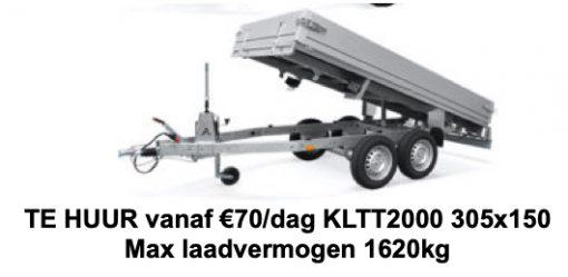 Verhuur aanhanger per week KLTT2000 305x150 Max laadvermogen 1620kg (Borg €100)
